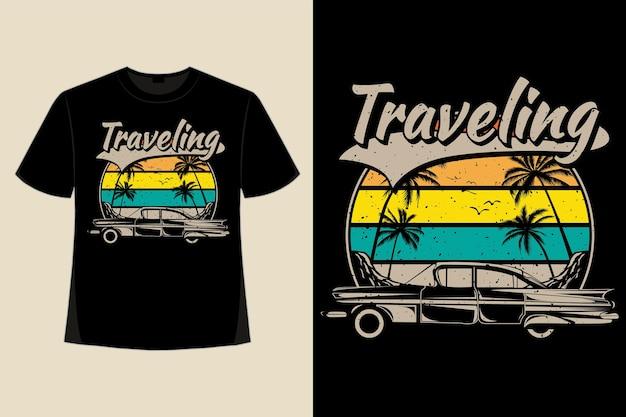 T-shirt-design der retro-vintage-illustration im stil der reisenden autoinselpalme