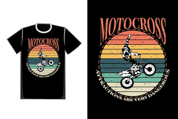 T-shirt design der silhouette motocross attraktion retro vintage