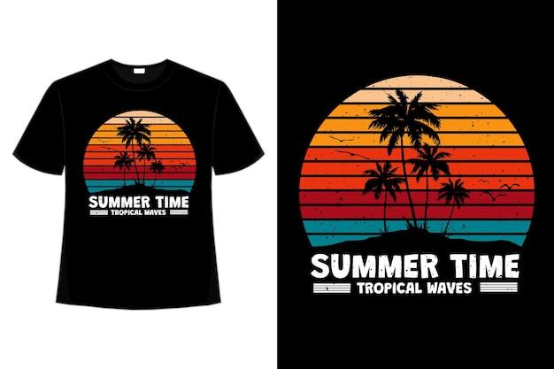 T-shirt-design der tropischen wellen der sommerzeit im retro-stil
