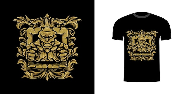 T-shirt design golem mit gravur ornament