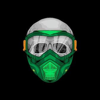 T-shirt design hand gezeichnete schädel resparator maske premium