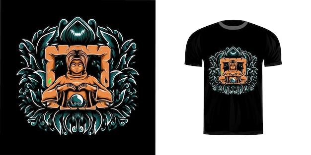 T-shirt design illustration assistent mit gravur ornament
