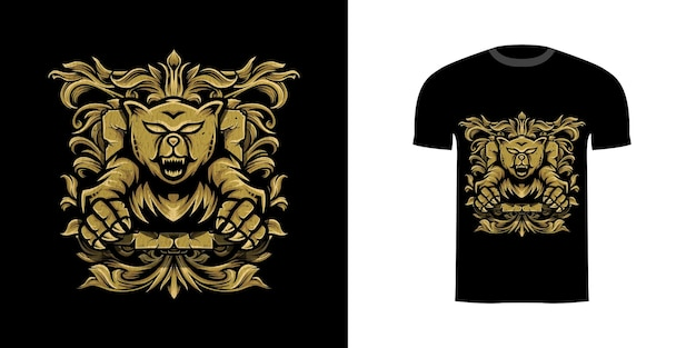 T-shirt design illustration grizzly mit gravur ornament