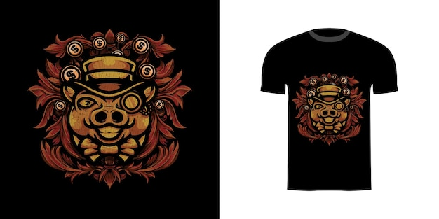 T-shirt design illustration reiches schwein mit gravur ornament