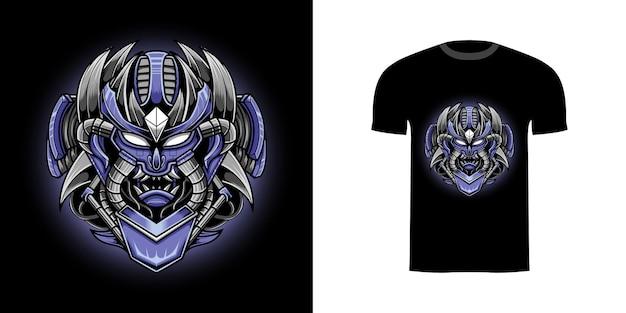 T-shirt design illustration roboterschädel