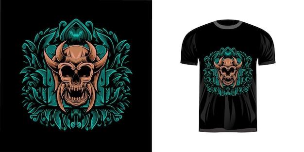 T-shirt design illustration schädel
