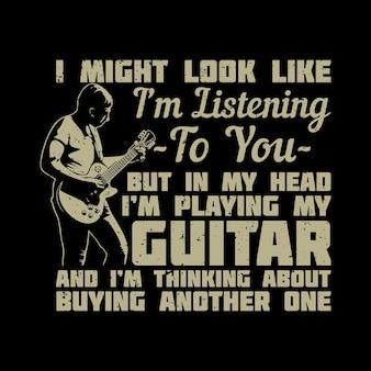 T-shirt-design-mann, der e-gitarre und schwarze hintergrund-vintage-illustration spielt