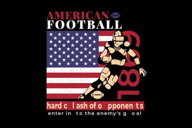 T-shirt design mit american flag football spieler vintage