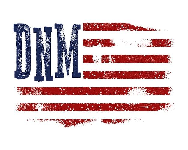 T-shirt design mit amerikanischer flagge und grunge textur.