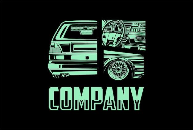 T-shirt-design mit automobillogo