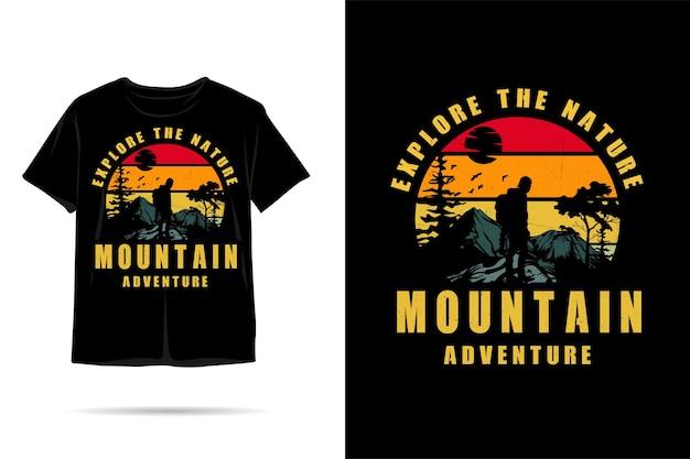 T-shirt-design mit bergabenteuer-silhouette