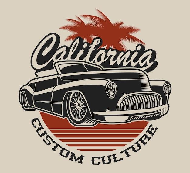 T-shirt design mit einem klassischen auto im vintage-stil auf dem weißen hintergrund.