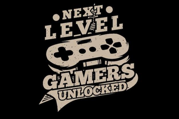 T-shirt-design mit freigeschalteter typografie auf gamer-ebene im retro-stil vintage