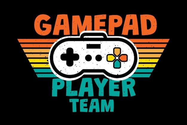 T-shirt-design mit gamepad-player-team-typografie im retro-stil vintage