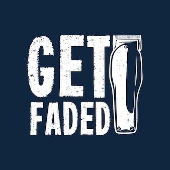 T-shirt-design mit haarschneidemaschine und dunkelblauer hintergrund-vintage-illustration verblasst Premium Vektoren