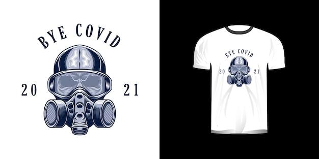 T-shirt design mit schädel und maske illustration