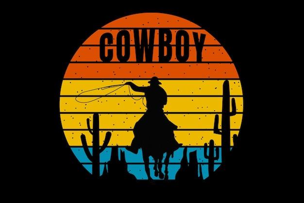 T-shirt-design mit silhouette cowboy-kaktus-steinhalterung im retro-stil