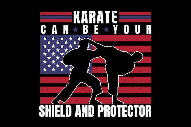 T-shirt-design mit silhouette karate-flagge im amerikanischen vintage-stil