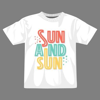 T-shirt-design mit sonne und sand