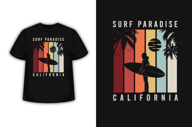 T-shirt design mit surfparadies kalifornien in rot, orange und grau