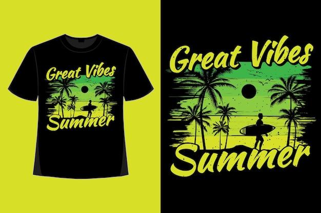 T-shirt-design mit toller stimmung im sommerzeit-sonnenaufgang-stil retro-vintage-illustration
