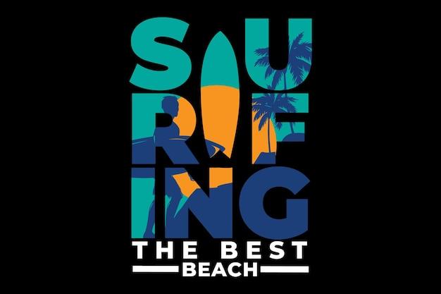 T-shirt design mit vintage im retro-stil surfen strand sonnenaufgang