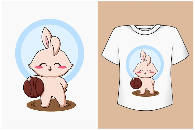 T-shirt design mockup glückliche kaninchenkarikaturillustration