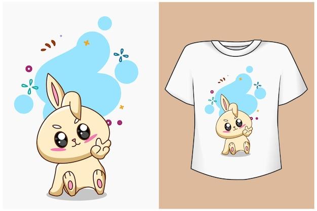 T-shirt design mockup niedliche und hübsche kaninchenkarikaturillustration