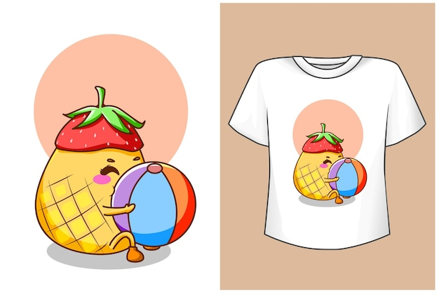T-shirt design mockup süße ananas im sommer