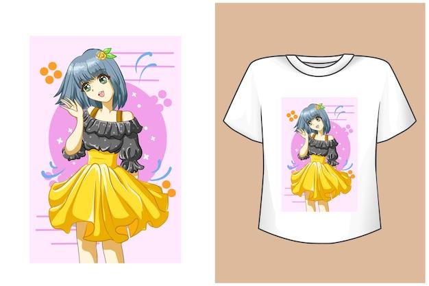 T-shirt design mockup süßes mädchen mit gelbem kleid im sommer