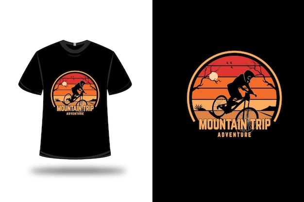 T-shirt design.mountain trip in orange und gelb abenteuerlich