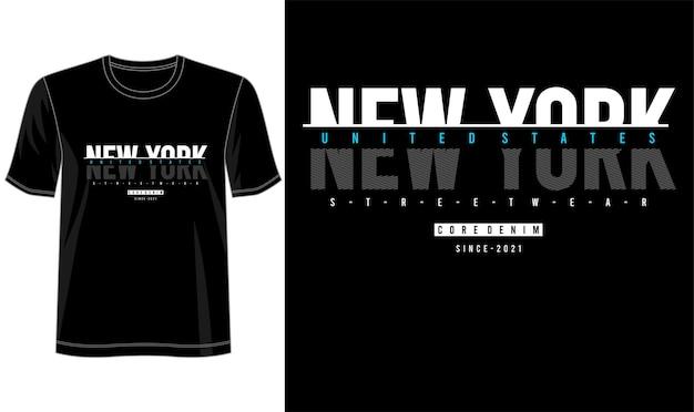 T-shirt design new york schriftzug typografie Premium Vektoren