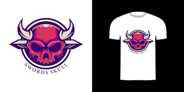 T-shirt design retro-illustration schwerter schädel
