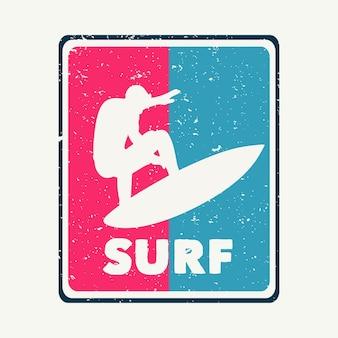 T-shirt design surf mit schattenbild mann surfen flache illustration