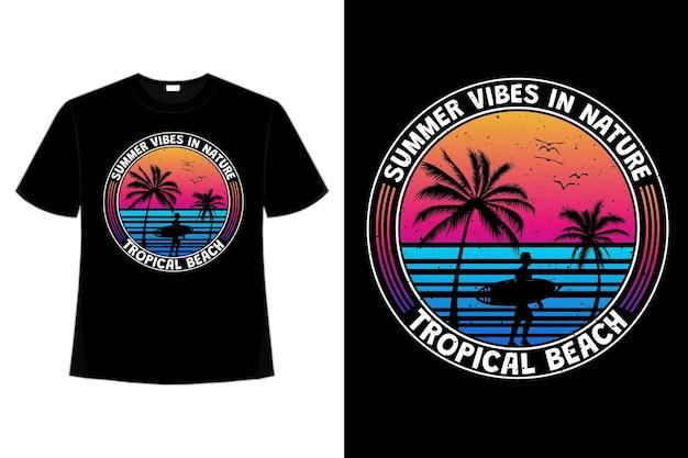 T-shirt design tropischer sommervibes beach surf im retro-stil