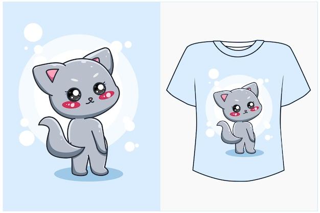 T-shirt-design verspottet süße und glückliche katzenkarikaturillustration