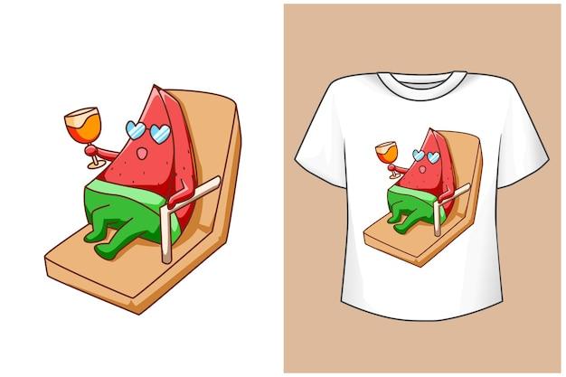 T-shirt-design verspottet süße wassermelone im strand