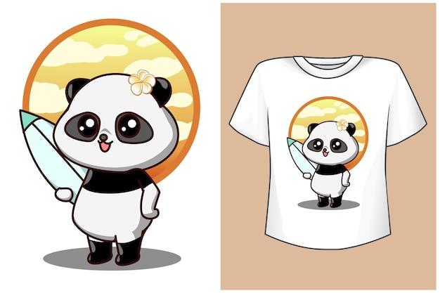 T-shirt-design verspottet süßes tier am strand im sommer