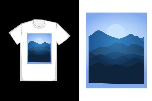T-shirt design viele berge sind hellblau