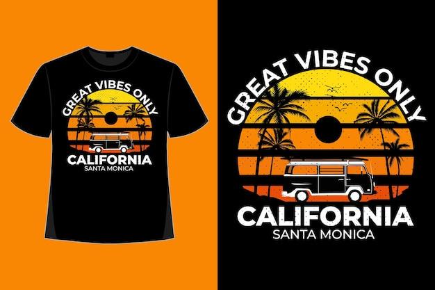 T-shirt-design von großen reben nur kalifornien santa monica-stil retro-vintage-illustration
