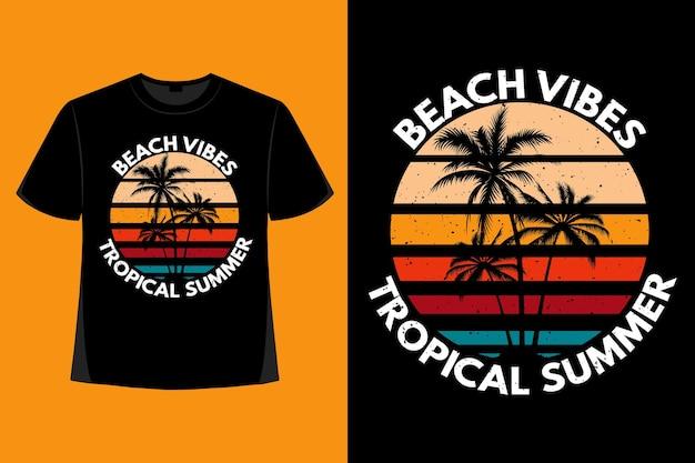 T-shirt-design von strand-vibes tropischer sommertypografie retro-vintage-illustration
