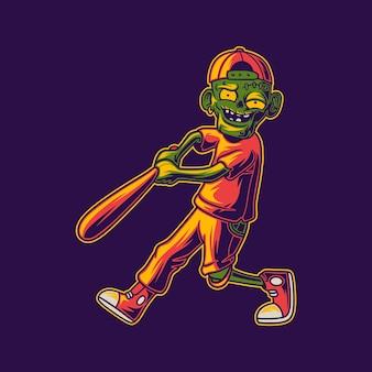 T-shirt-design-zombie traf die home-run-baseball-illustration
