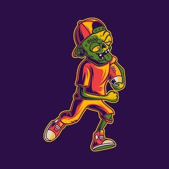 T-shirt-design-zombies, die in laufposition mit der ballfußballillustration spielen