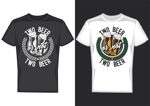 T-shirt designbeispiele mit illustration des bierdesigns.