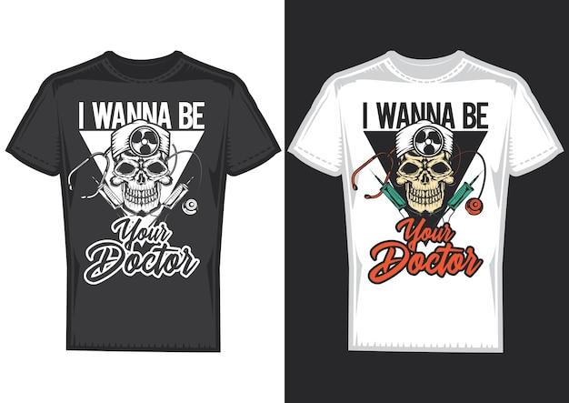 T-shirt designbeispiele mit illustration des schädels des arztes.