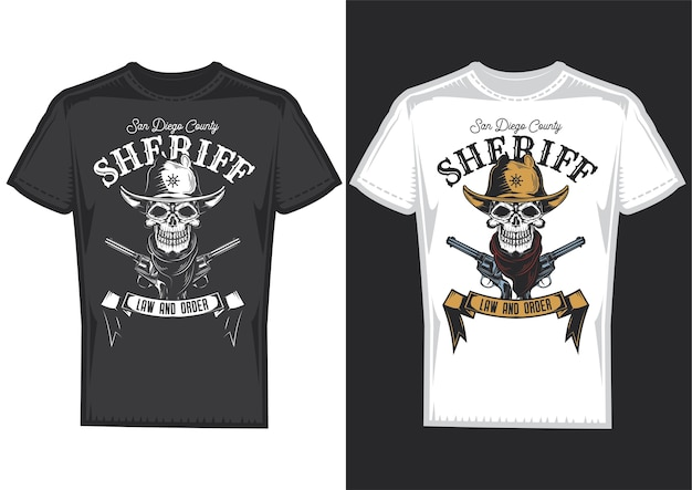 T-shirt designbeispiele mit illustration eines cowboyschädels.