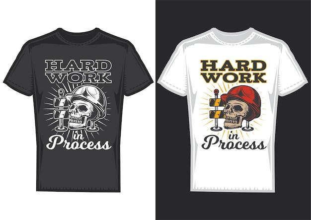 T-shirt designbeispiele mit illustration eines schädels mit helm.