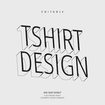 T-shirt designlinie texteffekt editierbarer premium-premium-vektor