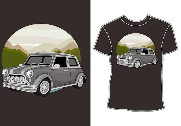 T-shirt-designs mit sommermotiven und klassische retro-oldtimer