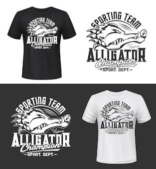 T-shirt druck mit alligator, sport team maskottchen